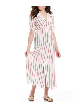 Striped Button Front Midi Dress by Chelsea & Violet