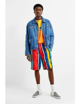 Tommy Jeans Green Stripe Basketball Shorts by Tommy Jeans