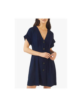 Jigsaw Twill Button Front Dress, Navy by Jigsaw