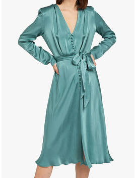 Ghost Meryl Wrap Tie V Neck Dress, Baby Green by Ghost