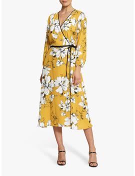 Helen Mc Alinden Claudia Floral Tie Waist Midi Dress, Yellow by Helen Mc Alinden