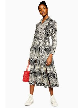 Zebra Pleated Shirt Dress by Topshop
