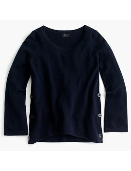 Side Button Crewneck Sweater In Everyday Cashmere by J.Crew
