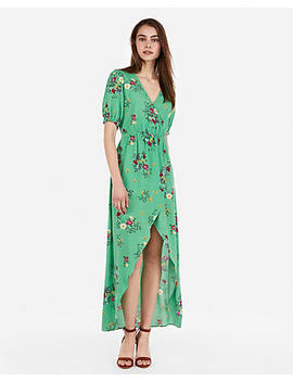 Floral Ruffle Surplice Wrap Hi Lo Maxi Dress by Express
