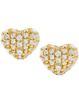 Women's Kors Love Pavé Heart Sterling Silver Stud Earrings by Michael Kors