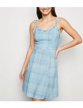 Blue Check Ruffle Trim Sundress by New Look