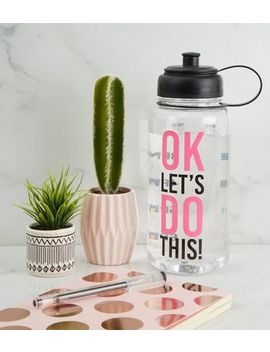 Pink Let's Do This 1 Litre Water Bottle by New Look