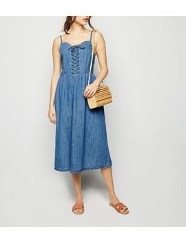 Blue Denim Lace Up Front Midi Dress by New Look