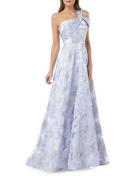 One Shoulder Floral Ball Gown by Carmen Marc Valvo Infusion