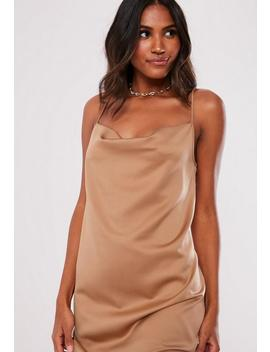 Mocha Cowl Front Cami Dress by Missguided