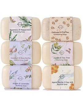 O Naturals 6 Piece Moisturizing Body Wash Soap Bar Collection. 100 Percents Natural Made W/ Organic Ingredients & Therapeutic Essential Oils. Face & Hands. Vegan. French Triple Milled. For Women & Men 4 Oz by O Naturals