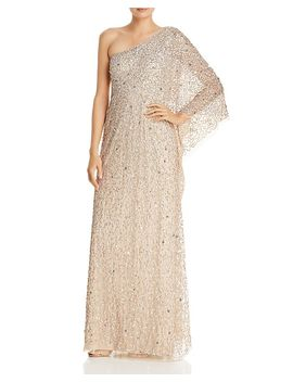One Shoulder Sequined Gown by Adrianna Papell
