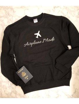 Airplane Mode Sweatshirt (Black) Unisex Sizing by Etsy