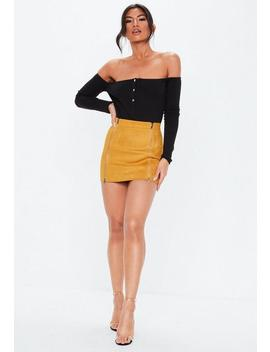 Petite Mustard Faux Suede Mini Skirt by Missguided