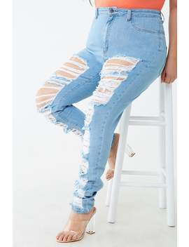 Plus Size Distressed High Rise Skinny Jeans by Forever 21