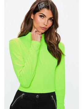 Neon Green Zip Front Ribbed Crop Top by Missguided