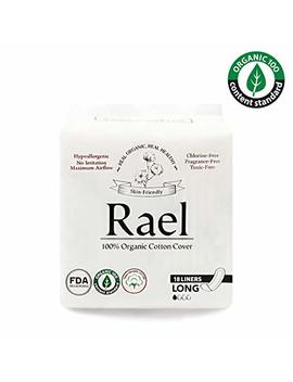 Rael Certified Organic Cotton Panty Liners  Unscented Natural Daily Pantyliners (Long, 4 Pack) by Rael