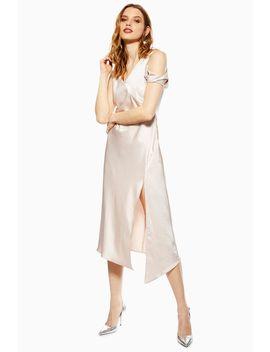 Twist Shoulder Satin Midi Dress by Topshop
