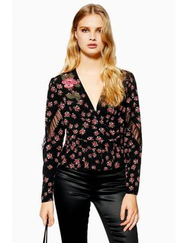 Bead Floral Plunge Blouse by Topshop