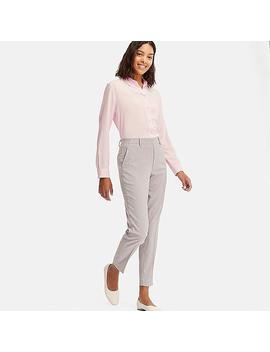 Women Ezy Micro Checked Ankle Length Trousers by Uniqlo
