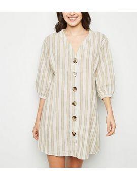 Blue Vanilla Cream Stripe Button Up Shirt Dress by New Look