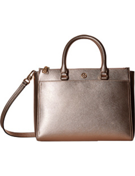 Robinson Metallic Small Double Zip Tote by Tory Burch