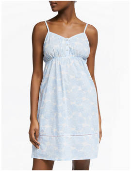 John Lewis & Partners Zoe Floral Print Chemise, White/Blue by John Lewis & Partners