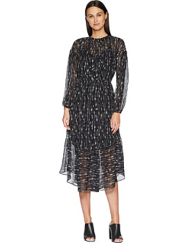 Brushstroke Shirred Seamed Dress by Vince