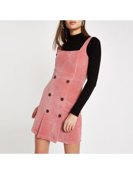 Pink Button Front Cord Pinafore Dress by River Island