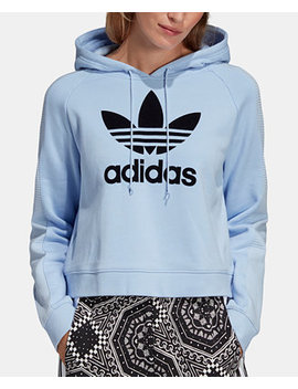 Cotton Flocked Logo Cropped Hoodie by Adidas Originals