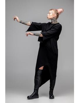 Asymmetric Oversized Black Dress, Geometric Maxi Loose Fit Tunic, Cyberpunk Goth Cosplay Futuristic Style, Stitched Ruffle Kaftan, A0132 by Etsy