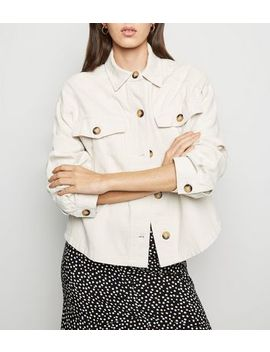Cream Cropped Utility Shacket by New Look