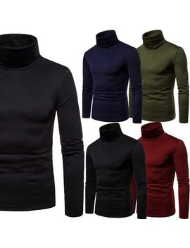 2018 Mens Roll Neck Long Sleeve Cotton Top Polo & Turtle Neck Basic T Shirts by Emmababy