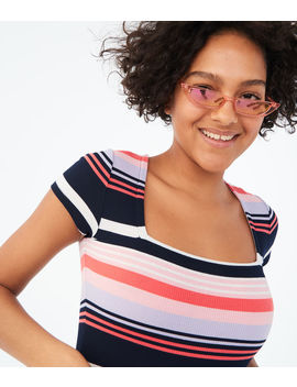 Seriously Soft Striped Square Neck Bodycon Top by Aeropostale