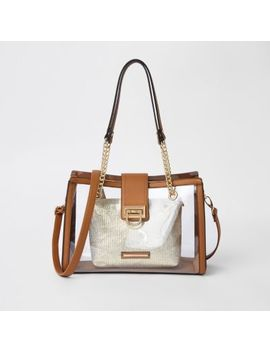 Beige Perspex Pouch Tote Bag by River Island
