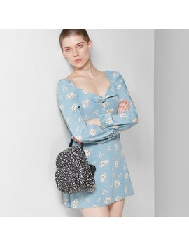 Women's Floral Print Long Sleeve Bow Front Dress   Wild Fable™ Blue Stencil/Ivory by Wild Fable