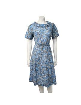Vintage 70s Blue Floral Woven Belted Shift Dress by Vintage