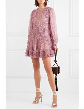 Ruffled Floral Print Silk Crepon Mini Dress by Stella Mc Cartney