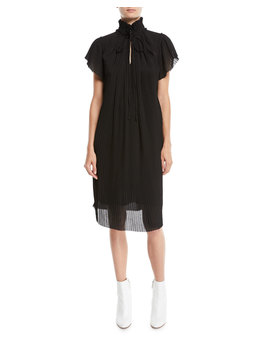 High Neck Plisse Short Sleeve Shift Dress by Opening Ceremony