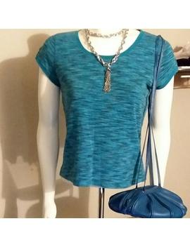😗Liz Claiborne Petite Blue Marble T Shirt, Pm by Liz Claiborne