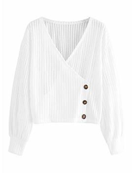 Romwe Women's Casual Long Sleeve Wrap Shirt V Neck Tops Blouse by Romwe