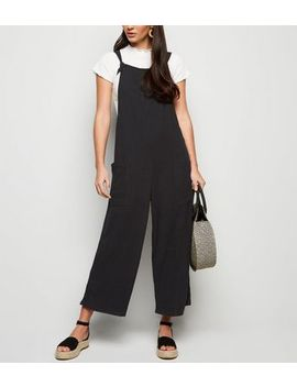 Black Linen Look Tie Strap Dungaree Jumpsuit by New Look