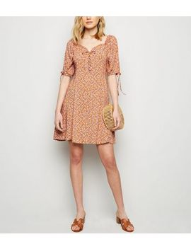 Orange Ditsy Lace Up Dress by New Look