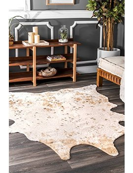 """Nu Loom Contemporary Macchiato Faux Cowhide Area Rug, Off White, 5' X 6' 7"""" by Nu Loom"""