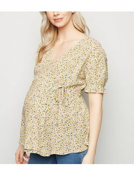 Maternity White Ditsy Floral Wrap Top by New Look