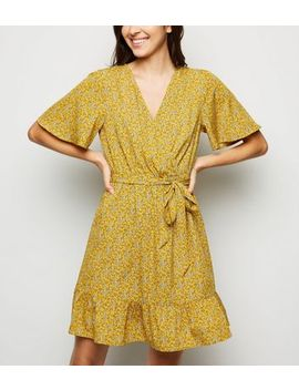 Mustard Ditsy Floral Wrap Front Dress by New Look