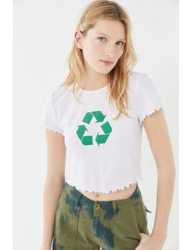 Truly Madly Deeply Recycle Lettuce Edge Cropped Tee by Truly Madly Deeply