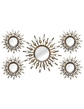 Stratton Home Décor 21 Inch X 39 Inch Round Burst Mirror In Bronze (Set Of 5) by Bed Bath And Beyond