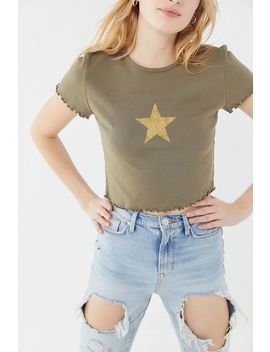 Truly Madly Deeply Gold Star Lettuce Edge Cropped Tee by Truly Madly Deeply
