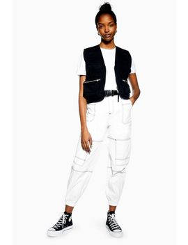 Belted Contrast Stitch Trousers by Topshop
